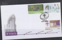 SCOUTS - MALAYSIA -  2014 - SCOUTS SET OF 3 ON  ILLUSTRATED FIRST DAY COVER - Storia Postale