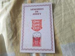 Timbre Carte Postale Maximum Armoiries De Jersey Timbre Rouge 24 Janvier 1944 Occupation - Jersey