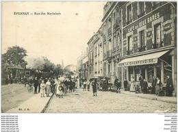 51 EPERNAY. Rue Des Mariniers Train Et Café Des Deux Gares 1916 - Epernay