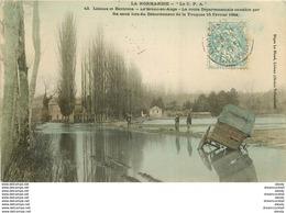 14 LE BREUIL-EN-AUGE. Route Envahie Par Les Eaux De La Touques 1904 Colorisée - Lisieux
