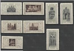 8 Vignettes Cambodge Angkor Indochine Erinnophilie CINDERELLA ERINNOFILIA Grise Et Brune - Autres