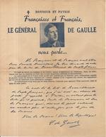 MENTON . ELECTIONS MUNICIPALES DE 1947 . TRACT RPF .GENERAL  DE GAULLE VOUS PARLE - Documents Historiques