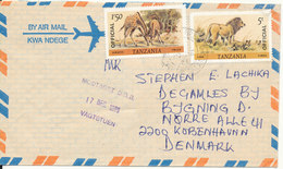 Tanzania Air Mail Cover Sent To Denmark 1986 Topic Stamps Giraffe And LION - Tanzania (1964-...)