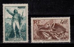 YV 314 & 315 N* (trace) Rouget De L'Isle & La Marseillaise Cote 10 Euros - Frankreich
