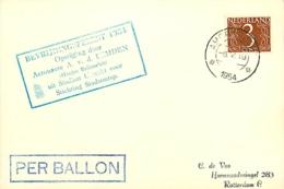 Pays-Bas. Vol Par Ballon  Bevrijdingsfeest 5/5/54 - Luchtpost