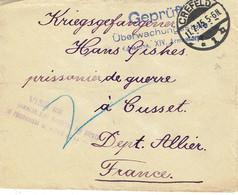 CREFELD Lettre à Destination De Cusset (03) Cachet Violet : Visé Par Le Commandant Des Dépots Des Prisonniers De Guerre - Poststempel (Briefe)