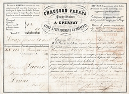 1861 - Roulage ÉPERNAY-DOUAI - CHAUSSON Frères à ÉPERNAY - 25 Bouteilles De Vin Blanc - Documents Historiques