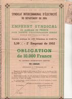 SYNDICAT INTERCOMMUNAL D'ELECTRICITE DU DEPARTEMENT DU JURA -OBLIGATION DE 10.000 FRS 1952 - Electricité & Gaz