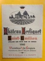 13457 - Château Berliquet 1966 Saint-Emilion Format 12.2 X 15.7 - Bordeaux