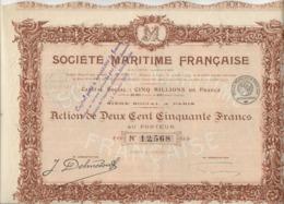LOT DE 2 ACTIONS DE 250 FRS -SOCIETE MARITIME FRANCAISE -ANNEE 1917 - Navigation