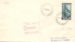 1957 Raccomandata Per Palermo Con L. 65 Italia A Lavoro Fil Stella RIBASSATO- Sav - 1946-60: Marcofilia