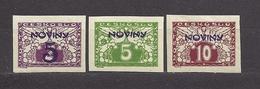 Czechoslovakia 1926 MNH ** Mi 217-219 Sc P11-P13 Newspaper Stamps, Zeitungsmarken Mit Aufdruck NOVINY. Tschechoslowakei - Tchécoslovaquie