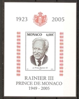 MONACO Bloc 91 à La Mémoire Du Prince Rainier NSC ** - Blokken