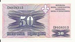 BOSNIE HERZEGOVINE 50 DINARA 1995 UNC P 47 - Bosnië En Herzegovina