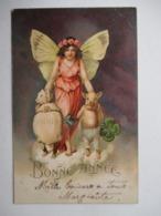 FILLETTE-PAPILLON   TREFLE  ET  COCHON ....  -   BONNE  ANNEE   .....       TTB - Künstlerkarten