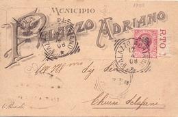 1908 Bella Cartolina Pubblicitaria Da Palazzo Adriana Per Chiusa Sclafani - Franc - 1900-44 Vittorio Emanuele III