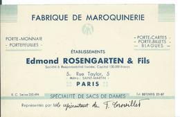 CARTE DE VISITE... FABRIQUE DE MAROQUINERIE ...EDMOND ROSENGARTEN & FILS...5 RUE TAYLOR . PARIS - Tarjetas De Visita