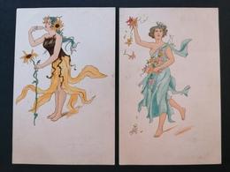 Illustrateur. Style Art Nouveau. Mucha. 2 Cpa. Femme. Tournesol. - Illustratori & Fotografie