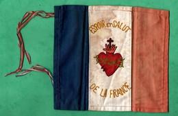 """Militaire Guerre De 14 / 18 Petit Drapeau Français En Tissu  Brodé """"espoir Et Salut De La France"""" Format 16,3cm X 17,6cm - 1914-18"""
