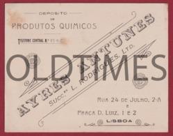 PORTUGAL - LISBOA - AYRES ANTUNES - DEPOSITO DE PRODUTOS QUIMICOS - 1910 INVOICE - Portugal