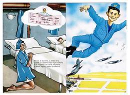 AERONAUTICA MILITARE 2 Cartoline SARAM Taranto Allegorica VAM Aviere Fiat G 91 S.V.A.M. NV Aeroporto - 1946-....: Modern Era