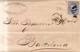 Año 1870 Edifil 107 50m Sellos Efigie Carta   Matasellos Azul Rejilla Cifra 8 Valencia Membrete De Errando Hermanos - 1868-70 Gobierno Provisional