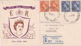 BRIGHTON VICTORIA AUSTRALIA TO SANTA FE, ARGENTINA. CIRCULATED FDC IN 1954. REGISTERED MAIL. RARE CIRCULATION -LILHU - 1952-65 Elizabeth II : Pre-Decimals