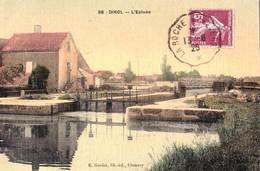 CPA  : Dirol (58)    Belle Carte Toilée Colorisée De L'écluse Sur Le Canal Du Nivernais    Ed Goulet - Autres Communes