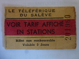 Ticket Téléphérique Du Salève - Transporto