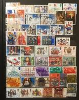 FRANCOBOLLI STAMPS GRAN BRETAGNA GREAT BRITAIN LOTTO LOTS COLLEZIONE SERIE NATALE CHRISTMAS NOEL 48 PICS PEZZI OBLITERE' - 1952-.... (Elizabeth II)