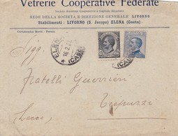 """""""VETRERIE COOPERATIVE FEDERATE"""" ITALY COMMERCIAL COVER. CIRCULATED ELENA TO LECRE 1921 -LILHU - Covers & Documents"""