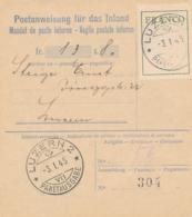 Schweiz - 1945 - Franco Zettel On Postanweisung Für Das Inland Local Use Luzern - Service