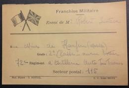 Carte De Franchise Militaire Deux Drapeaux Soldat Ouvrier BOTTIER 72e Artillerie MINES DE KANFEN Moselle Sept 1939 - Lettere In Franchigia Militare