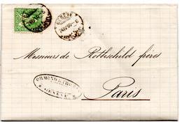 Lettre De Genève (24.04.1860) Pour Paris_Rothschild_Restante - 1862-1881 Helvetia Assise (dentelés)