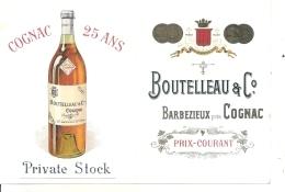 étiquette -couverture Cartonnée Pour Insertion Tarif Courant  Cognac BOUTELLEAU Barbezieux Excellent état -1920/50 - Whisky
