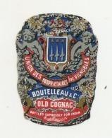 étiquette -  1900/1920 - Mini étiquette Mignonette - Flask - COGNAC - BOUTEILLEAU  - 5cm - Whisky