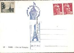 6F Rouge, Marianne De Gandon (paire) 1 Vignette Paris La Tour Eiffel Et 2 Cachets Souvenir De La Et Du Sommet - Autres