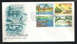 Palau 1984 Fishing Methods FDC Y.T. 51/54 ** - Palau