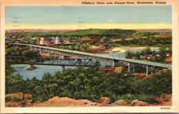 Kansas Manhattan Pillsbury Drive Over Kansas River 1954 Curteich - Manhattan