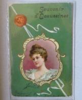 CPA Souvenir D' Ecaussinnes - Femme En Médaillon Art Nouveau - Voyagée 1912 Vers Paris - Ecaussinnes