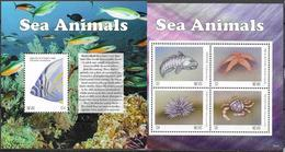 NEVIS, 2020, MNH, SEA ANIMALS, FISH, WOLFFISH, CRABS, STARFISH, SHEETLET+S/SHEET - Marine Life