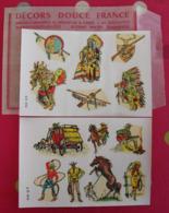 Décalcomanies 1960-70. Décors Douce France. Transfert Décalcomanie. Indiens Cow-boys Saloon Canoé Totem Rodéo - Old Paper