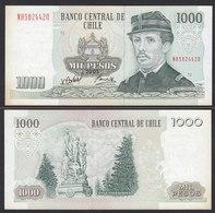 CHILE - 1000 Pesos Banknote 2005 Pick 154f  Fast XF Prefix NH Block 12 (19707 - Banconote