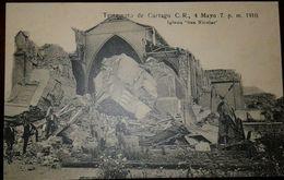 RO) 1910 CIRCA - COSTA RICA, RUINS OF SAN NICOLAS CHURCH -CARTAGO EARTHQUAKE FROM 1910, OLD CAR, XF - Costa Rica