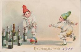 GAUFREE. ENFANTS.JEUX.QUILLES.CHAMPAGNES.BALLE.      .   ANNEE 1910     CIRCULEE TRES BELLE CARTE - Nouvel An