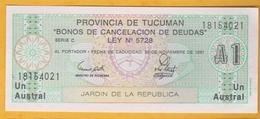 Argentine - Billet De 1 Austral - Province De Tucuman - 30 Novembre 1991 - Neuf - Argentina