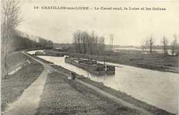 CHATILLON Sur LOIRE (Loiret) Le Canal Neuf ,la Loire Et Les Grèves Péniche RV - Chatillon Sur Loire