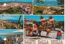 SICILIA - VEDUTINE MULTIVUES - CARRETTO SICILIANO - COSTUMI - FOLKLORE - CATANIA - MESSINA - ACITREZZA - NON VIAGGIATA - Altre Città