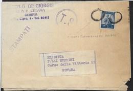 STORIA POSTALE REPUBBLICA - ANNULLO MUTO SU STAMPATO DA GENOVA 1950 PER NOVARA - TIMBRO TONDO T.S. - 1946-60: Marcofilia