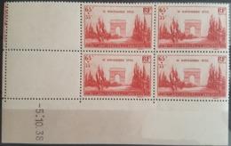 """N° 403 Cote 33 € ** (MNH). Coin Daté Du 5/10/38 """"Armistice"""". TB - 1930-1939"""